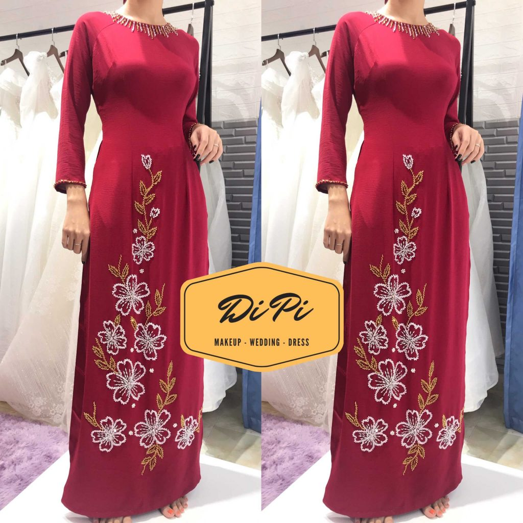 áo dài sui đỏ