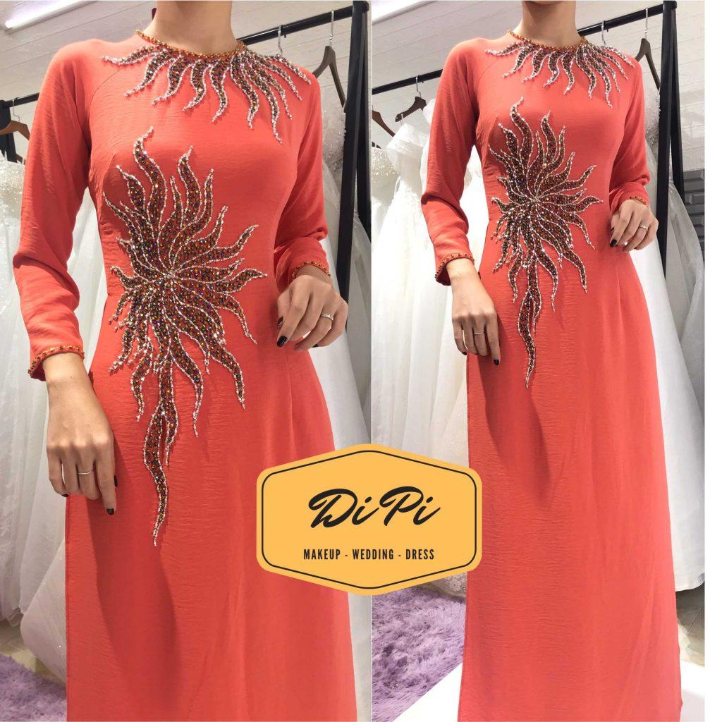 áo dài sui màu cam
