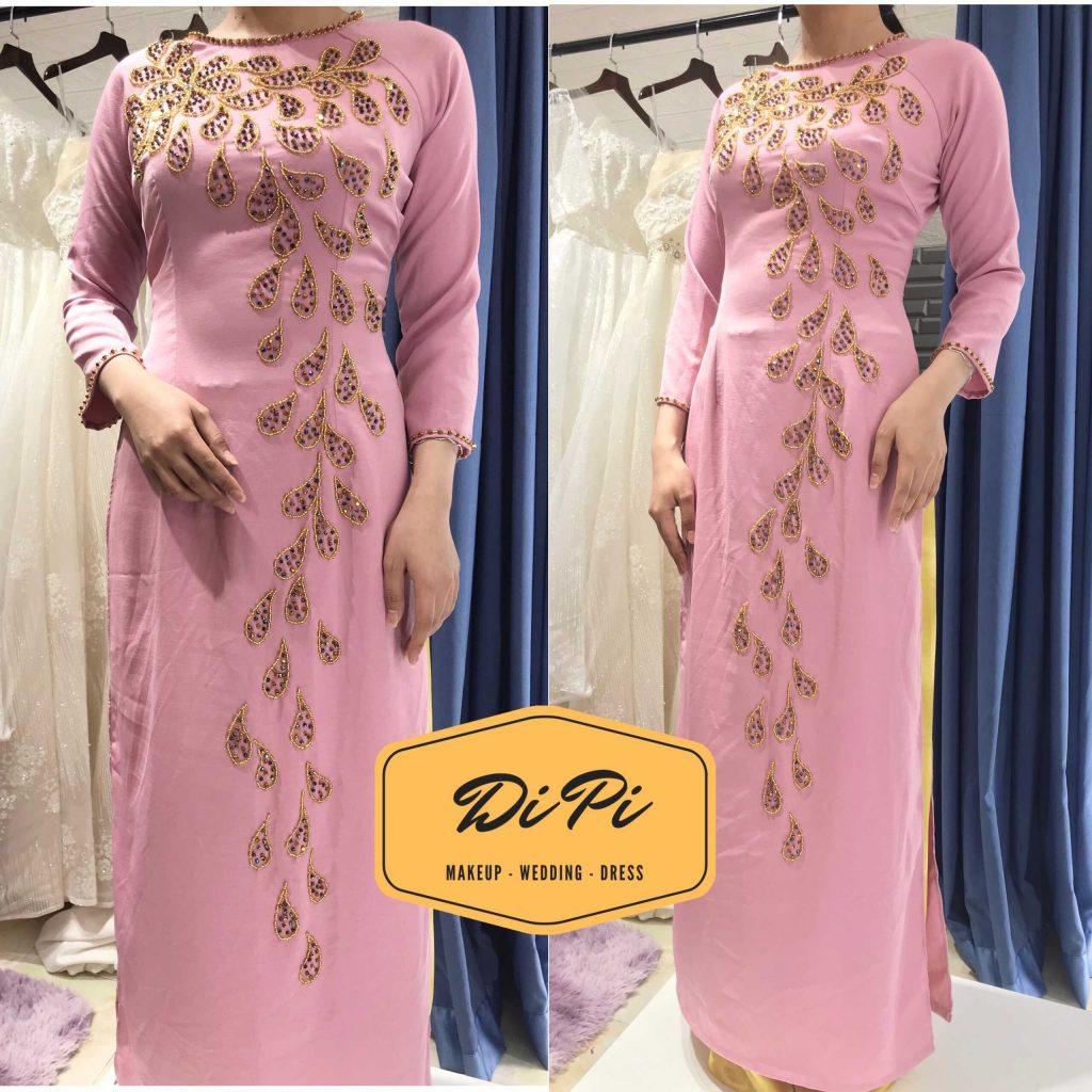 áo dài sui màu hồng