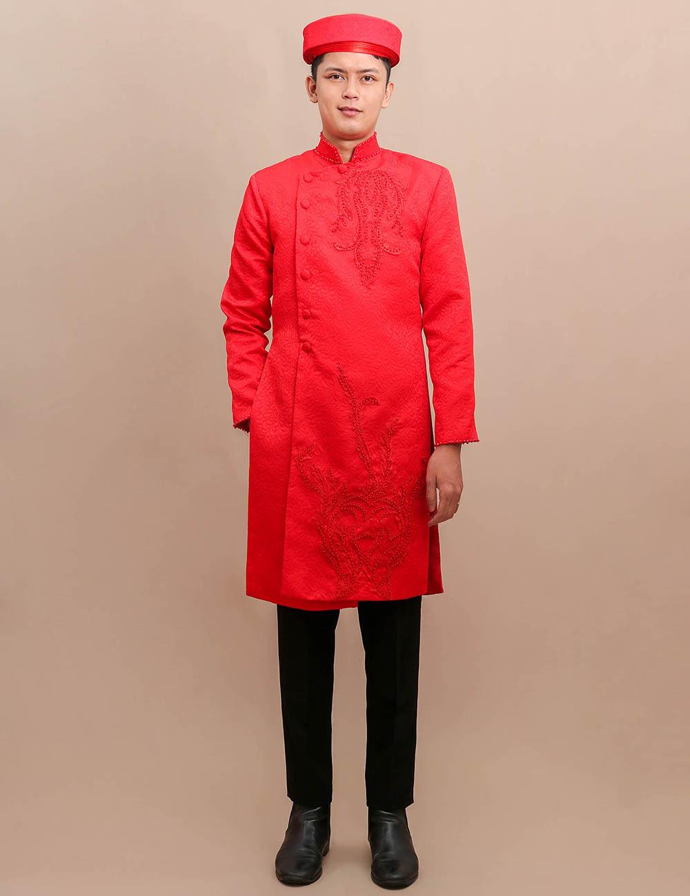 cho thuê áo dài chú rể màu đỏ
