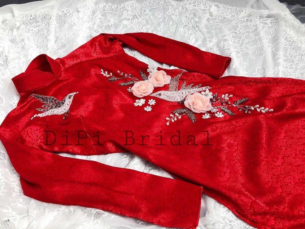 thuê áo dài cô dâu đỏ ren