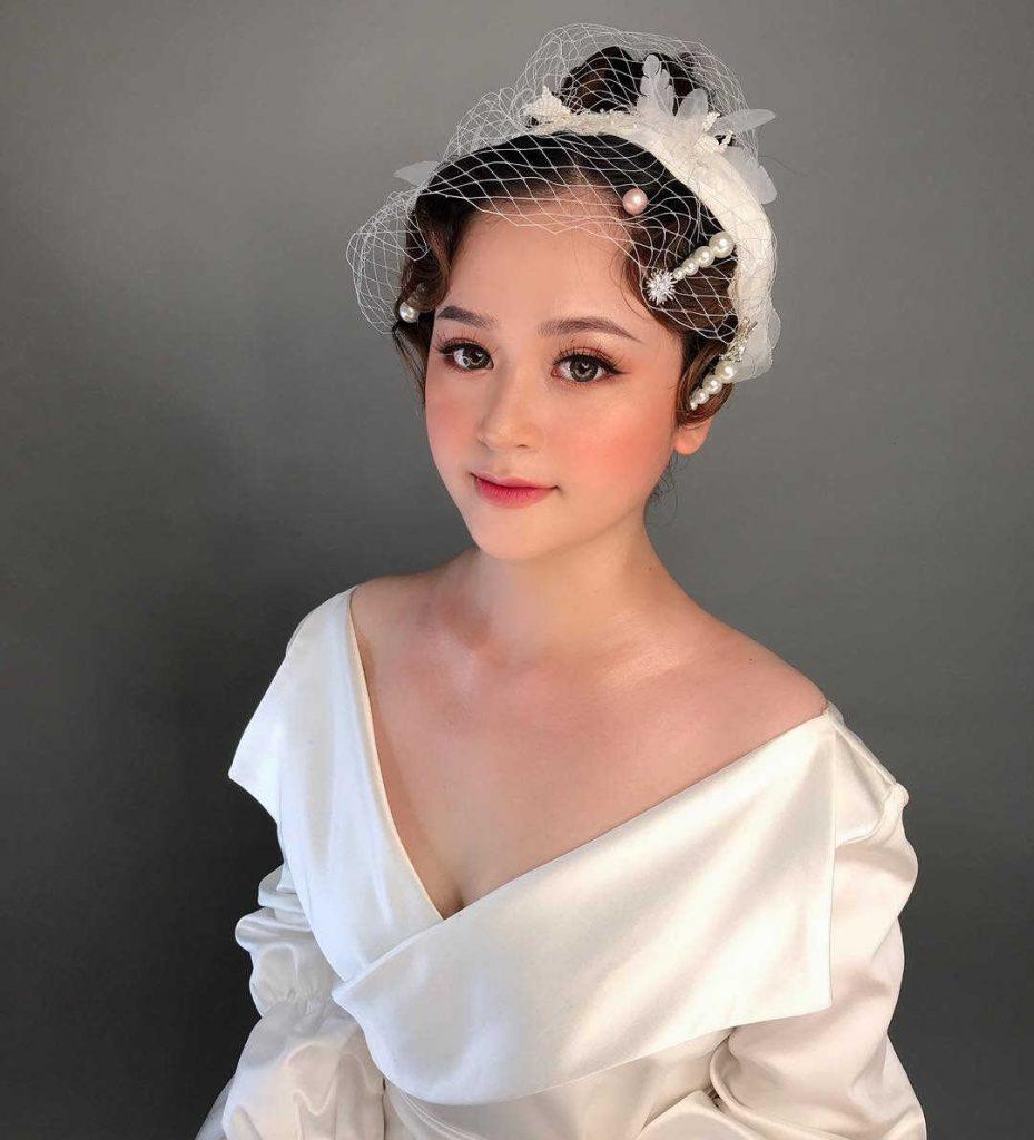kiểu tóc cô dâu tóc ngắn