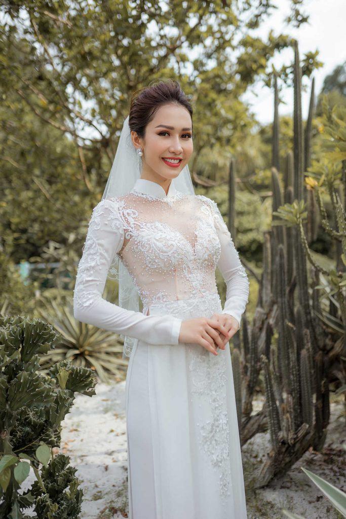 thuê áo dài cô dâu màu trắng