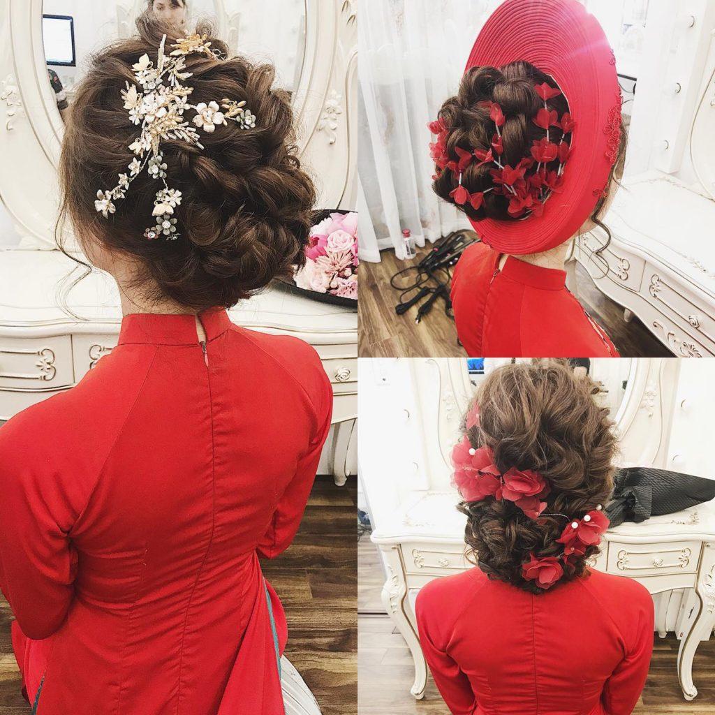 tóc cô dâu mặc áo dài đẹp