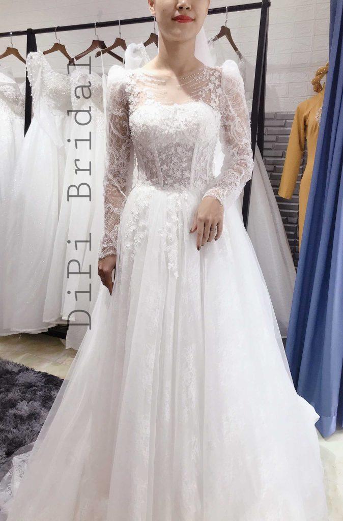 áo cưới đơn giản vải ren