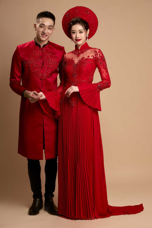 áo dài cô dâu chú rể màu đỏ đẹp
