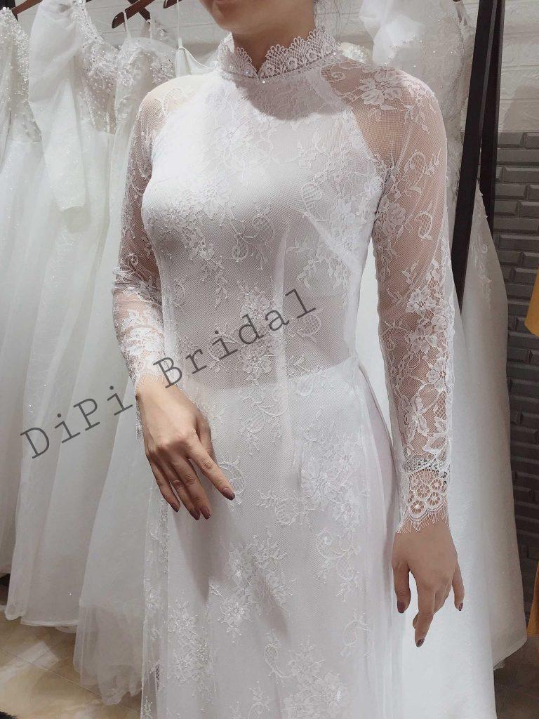 áo dài cô dâu trắng