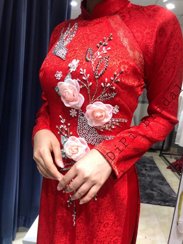 áo dài cưới đơn giản đỏ