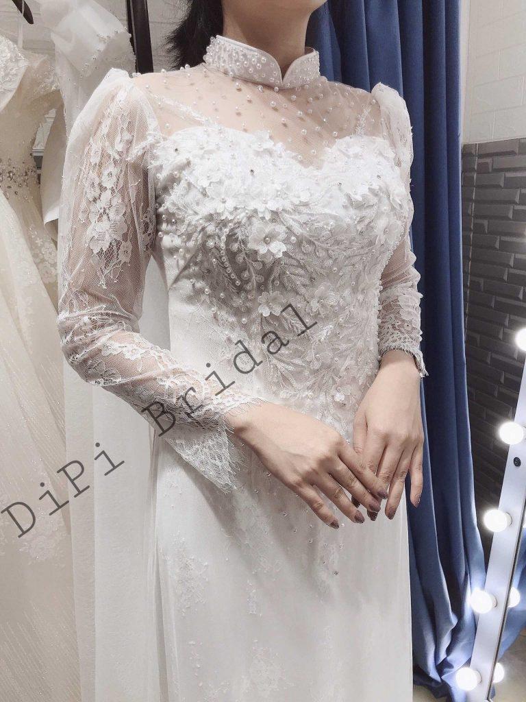 áo dài cưới đơn giản trắng