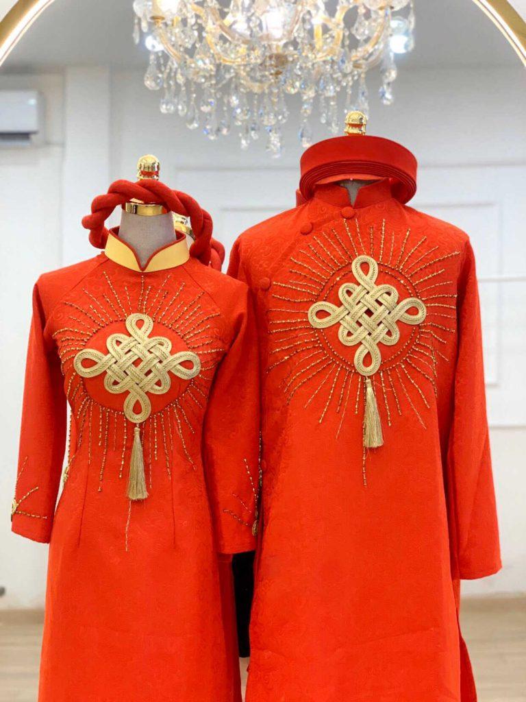 áo dài cưới màu đỏ cặp