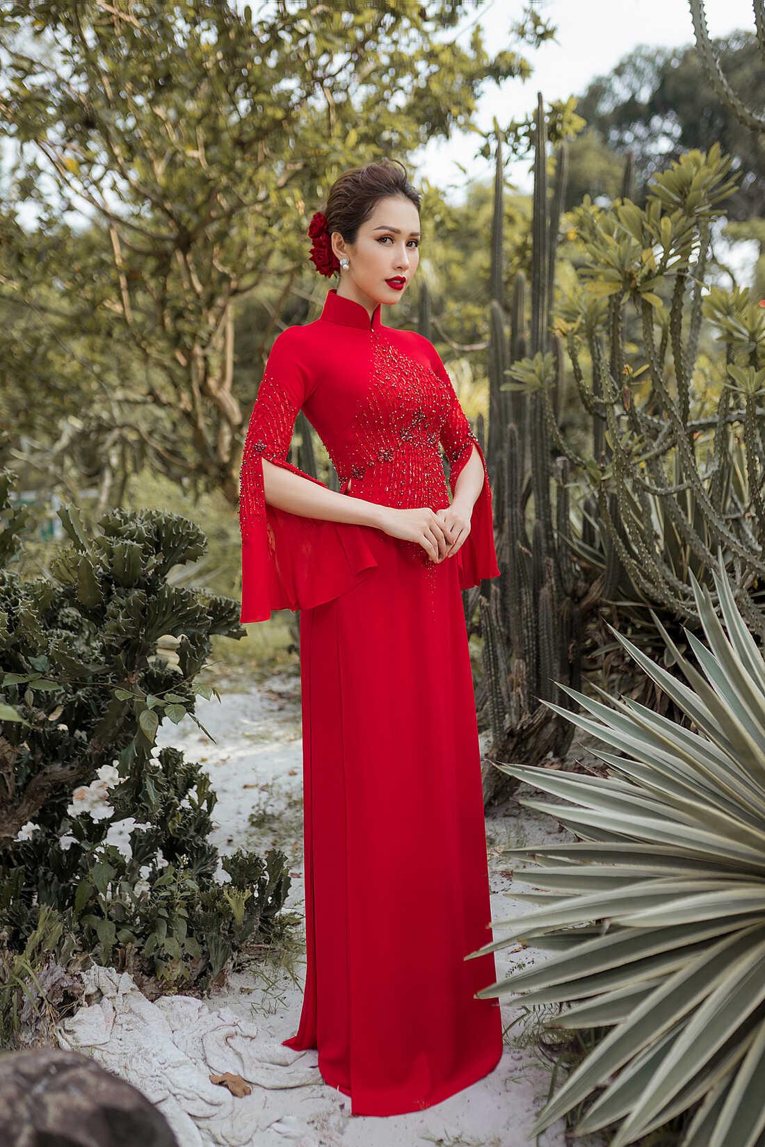 mẫu áo dài cô dâu màu đỏ