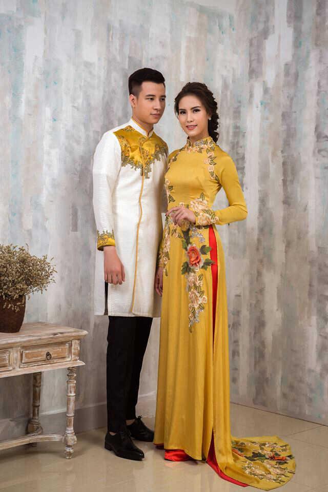 áo dài cô dâu màu vàng đẹp