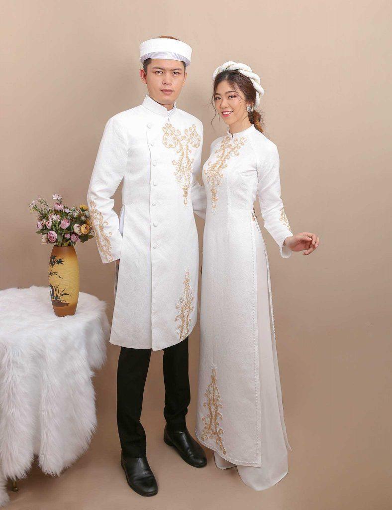 áo dài cưới cặp đôi màu trắng