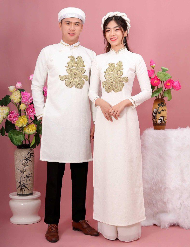 áo dài cưới cặp chữ hỷ