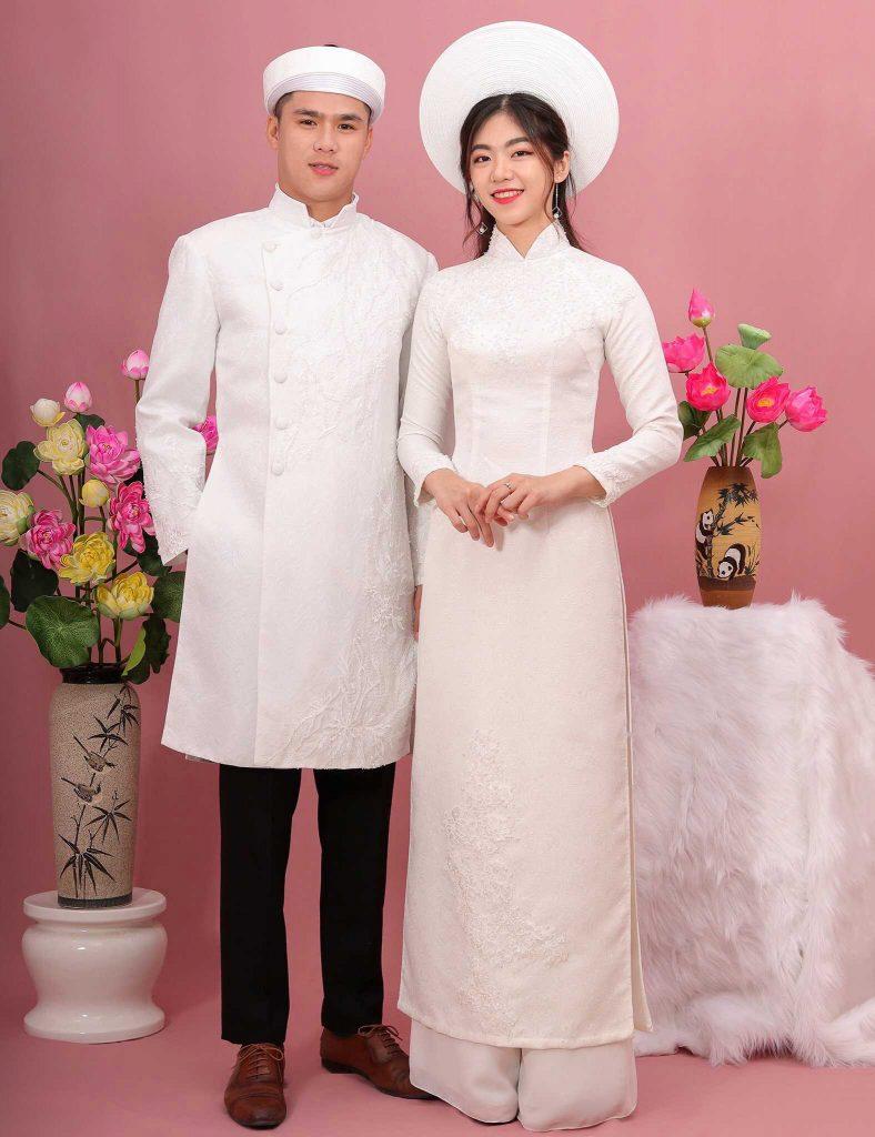 áo dài cưới cặp màu trắng