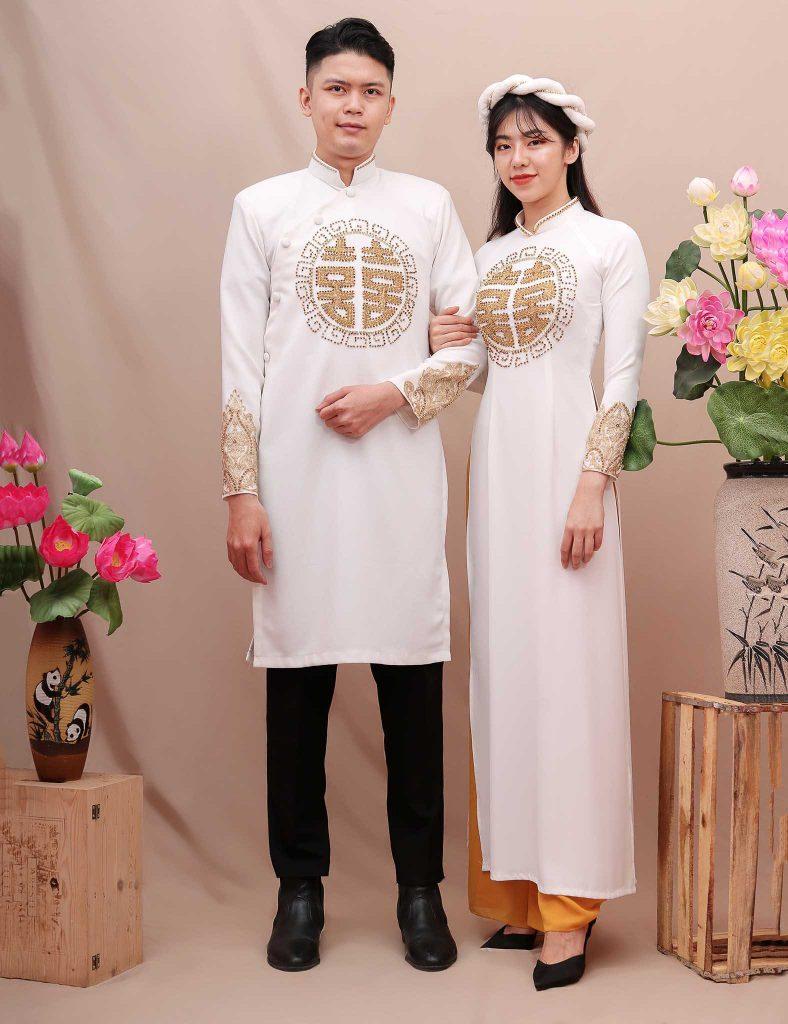 áo dài cưới cặp thêu