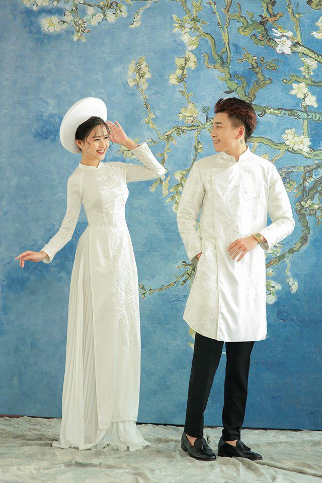 áo dài cưới cặp trắng