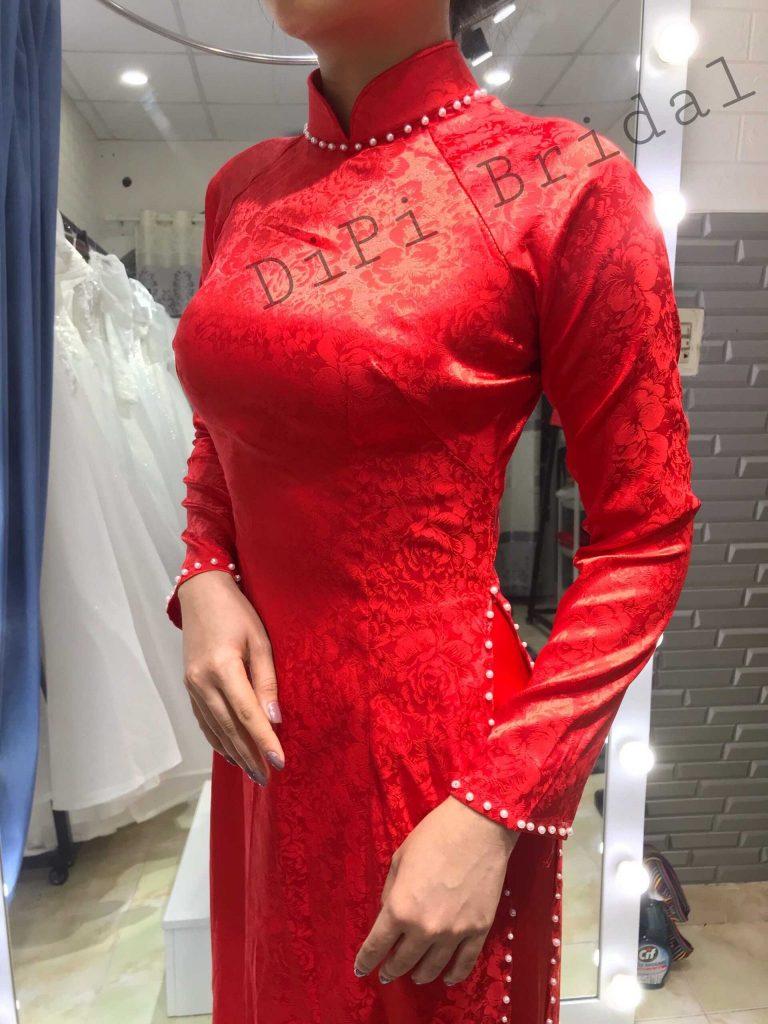 áo dài cưới truyền thống đỏ trơn