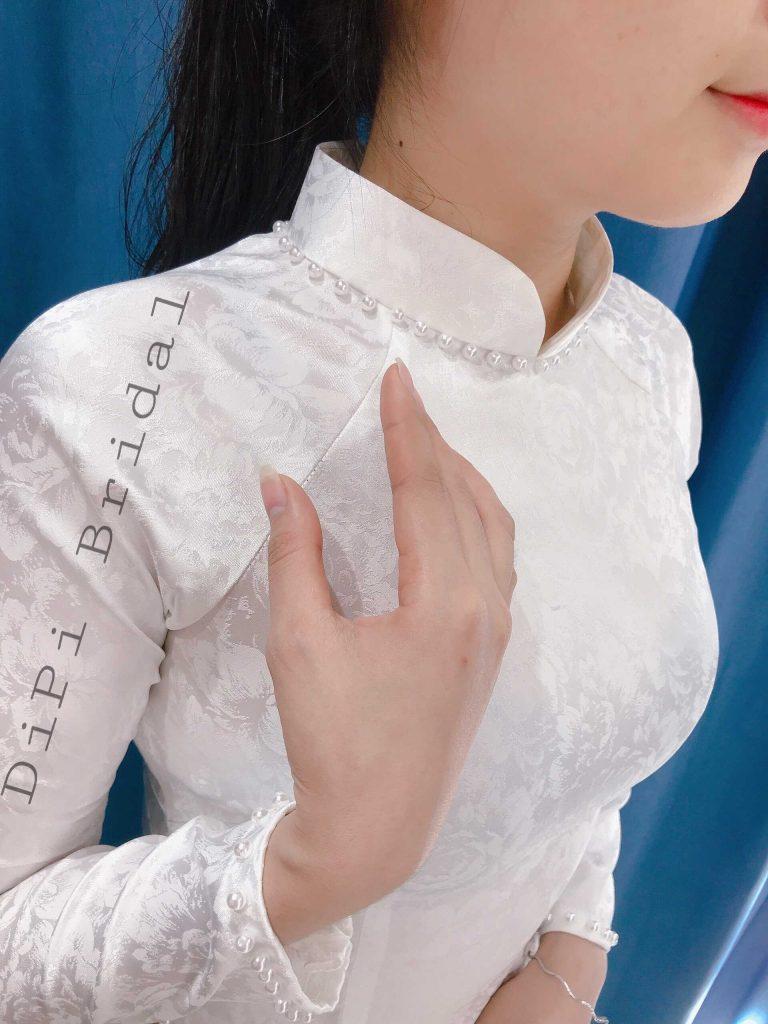 áo dài cưới truyền thống trắng trơn