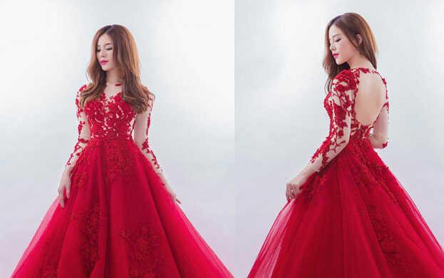 váy cưới màu đỏ tay dài