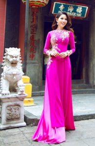áo dài cô dâu màu hồng đậm