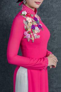 áo dài cô dâu màu hồng cánh sen