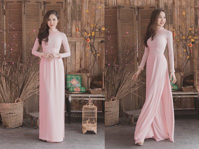áo dài cưới màu hồng
