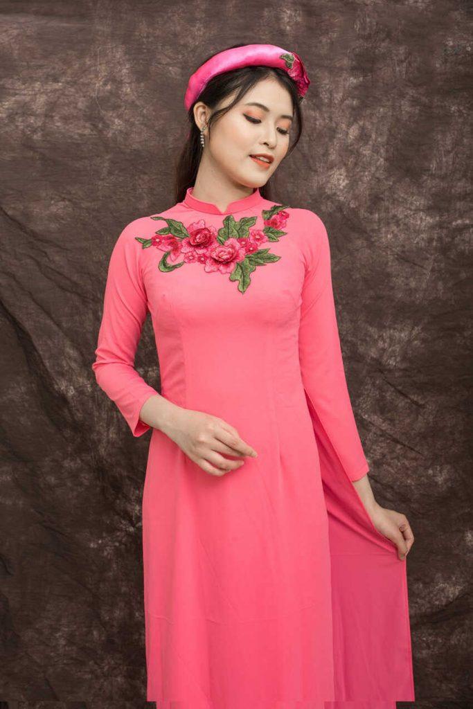 mẫu áo dài cô dâu hồng dâu