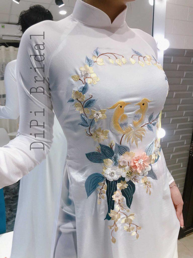 áo dài cô dâu trơn