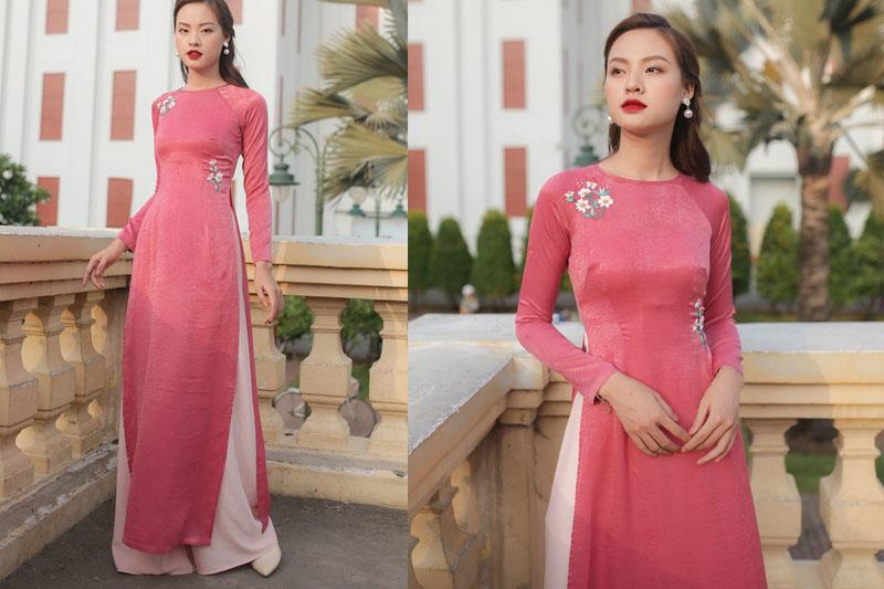 áo dài trơn màu hồng