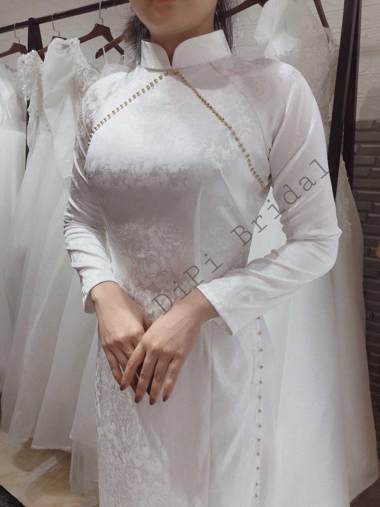 mẫu áo dài cưới trơn